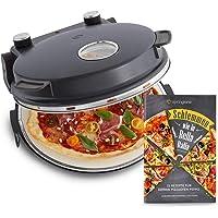 Pizzaofen Peppo 1200 W, Pizzamaker, Minibackofen elektrisch für Pizza & Brot 350°C, Timer & Signallampe, inkl. Emaille…
