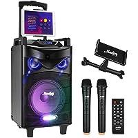 Karaoke Lautsprecher Moukey Bluetooth Karaoke System 160W PA Anlage Karaoke Maschine mit DJ Lights, Dual VHF Mikrofon…