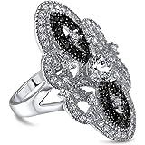 Bling Jewelry Art Deco Bianco Nero CZ Ampia Dichiarazione di Moda Armor Pieno Anello da Dito per Donne in Ottone Placcato in