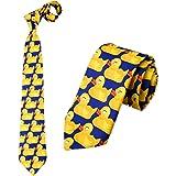 Cravatta con Paperelle Blu e Giallo, Cravatta Originale , Cravatta Fantasia, Travestimento