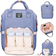 Diaper Bag Multi-Function Waterproof Travel Backpack Nappy Bags for Baby Care Large Capacity, Stylish and Durable Mom Bag by (Blue Purple)