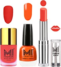 Mi Fashion Premium Quality Super Saver Nail Polish, Neon Orange Matte, Candy Coral Shine and Lipstick, Coral Glamour Combo, 199.58g (3 Pieces)