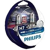 Philips 12972RVS2 Racing Vision +150% Lampadina Fari Auto, H7, Temperatura della luce 3500K, 12V, 55W, Confezione da 2, Twin
