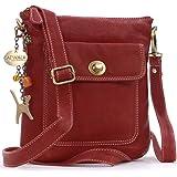 Catwalk Collection Handbags - Vera Pelle - Borse a Tracolla/Piccola Borsa a Mano/Messenger/Borsetta Donna - Con Ciondolo a Fo