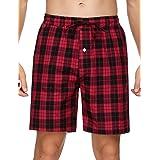 Aseniza Men's 1 or 2 Pcs Pyjama Shorts 100% Cotton Lounge Shorts Pj Bottoms w Pockets for Summer