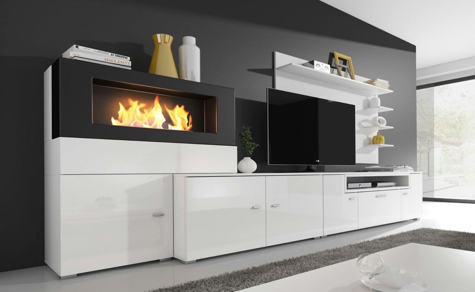 parete attrezzata moderna, colore bianco e nero con stufa bioetanolo incorporata.