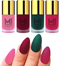 Mi Fashion Velvet Dull Matte Nail Polish, Baby Pink, Mauve, Dark Green, Pink, 39.6ml (4 Pieces)