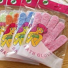Ocamo Shower Exfoliating Wash Skin Spa Bath Gloves Massage Clean Hygiene Gloves Random Color