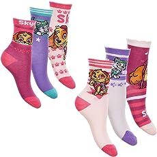 Paw Patrol 6er Pack Mädchen Socken Strümpfe mit vielen verschiedenen Muster und Designs