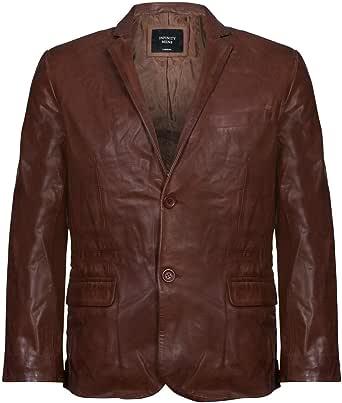 Men's Brown Genuine Leather Blazer Soft Real Italian Fitted Vintage Jacket Coat