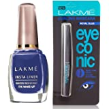 Lakmé Insta Eye Liner, Blue, 9 ml And Lakmé Eyeconic Curling Mascara, Royal Blue, 9ml