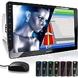 "XOMAX XM-2VN1003 Autoradio mit verstellbarem XXL Touchscreen Bildschirm (10""/25 cm) I Mirrorlink I GPS Navigation I Bluetooth I Anschlüsse für externes Mikrofon und Rückfahrkamera I RDS I USB I 2 DIN"
