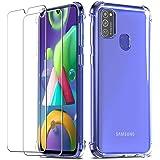 QHOHQ Cover per Samsung Galaxy M21 con 2 Pezzi Pellicola Protettiva, Silicone Morbido TPU Anti-Buttare Custodia - Vetro Tempe