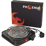 Phoenix - Hornillo Cachimba Electrico Shisha con Rejilla Hornillo Cachimba para Carbones Barbacoa - Cocina Electrica Portatil