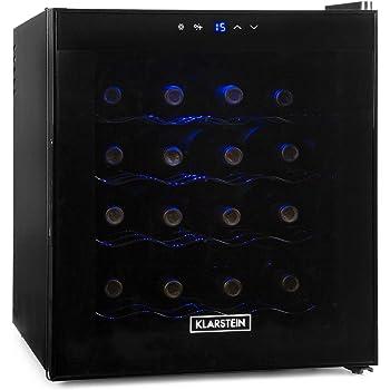 Klarstein Weinkühlschrank • Getränkekühlschrank • 48 Liter • 16 Flaschen • 4 Regaleinschübe • niedriges Betriebsgeräusch • Temperaturbereich: 08° - 18° C • Innenraumbeleuchtung • Standby-Funktion • Touchpad-Bedienung • Temperaturanzeige • schwarz