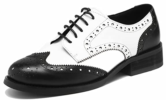 Vintage Style Shoes, Vintage Inspired Shoes Classic Womens Perforated Wingtip Leather Oxfords Vintage Brogue Comfy Office Low Heel Shoes £45.99 AT vintagedancer.com