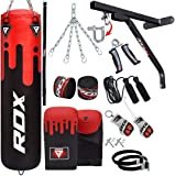 RDX Punch Bag for Boxing Training, 4ft 5ft Filled Heavy Bag Set with Punching Gloves, Chain, Wall Bracket,17pc for Grappling, MMA, Kickboxing, Muay Thai, Karate, BJJ,Taekwondo
