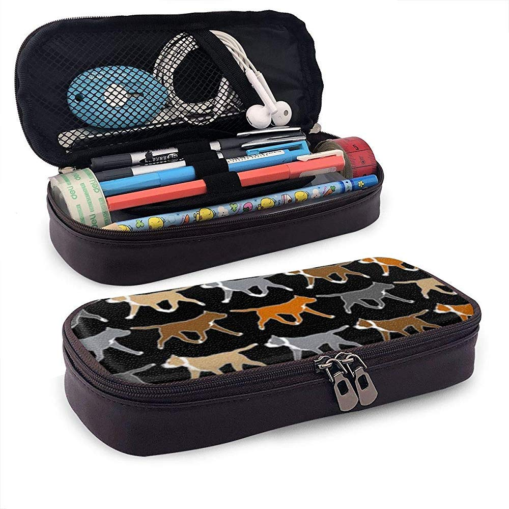 Trotting American Staffordshire Terriers Pencil Case Pu Leather Big Capacity Pencil Bag Pouch Durable Student Stationery Pen Holder for School/Office