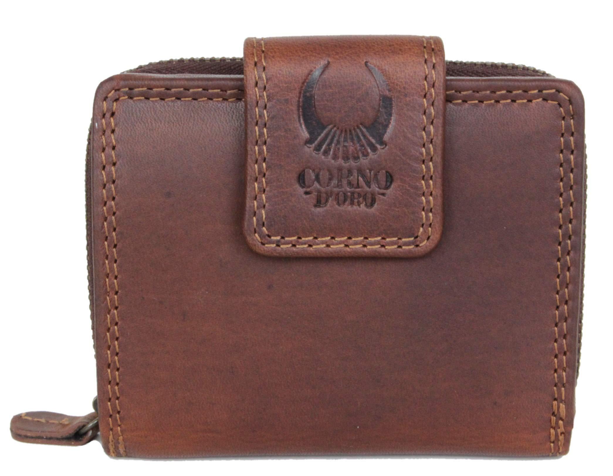 1d166576cd320 Geldbörse Damen Leder Herren Portemonnaie kompakte Portmonee Geldbeutel  Kreditkartenetui Wallet Brieftasche Organizer Vintage aus hochwertigem Echt