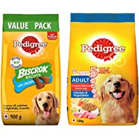Pedigree Adult Dry Dog Food- Chicken & Vegetables, 1.2kg Pack & Biscrok Biscuits (Above 4 Months), Chicken Flavor, 900g…