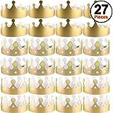 SIQUK 27 Stück Golden Kronen Papier Kronen Basteln Party Gold Kronen Hüte König Kronen für Party und Feier