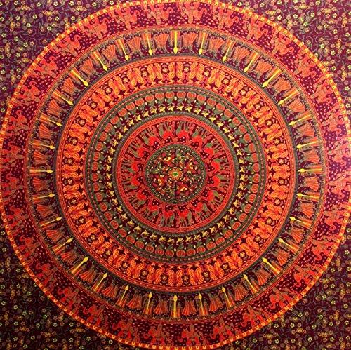 Indisch Psychedelic Wandteppich Mandala Rot Braun/ Elefant Boho Wandtuch Hippie/ Mehrfarbige Wandbehang Mandala Decke Tuch/groß indien baumwolle Bohemian Wandtucher Mandala/Weihnachten Geschenk 84x94