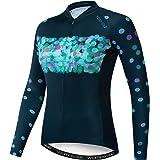 JPOJPO Camiseta de ciclismo de manga larga para mujer, de secado rápido, transpirable, reflectante S-3XL