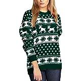 Janisramone Mujeres Señoras Nuevo Navidad Reno Copo de Nieve Novedad De Punto Unisexo Fairisle Navidad Saltador Suéter Parte