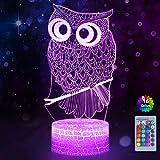 WHATOOK Uil 3D Illusie Lamp, Uil 3D Nachtlampje voor Kinderen, Uil Illusie Licht met 16 Kleuren Veranderende Beste Kerst Verj