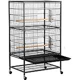 Yaheetech Grande Volière Cage Oiseaux sur roulettes Canaries Perroquet Perruches Cacatoès Ara 2 Étages avec Support 79 x 52 x