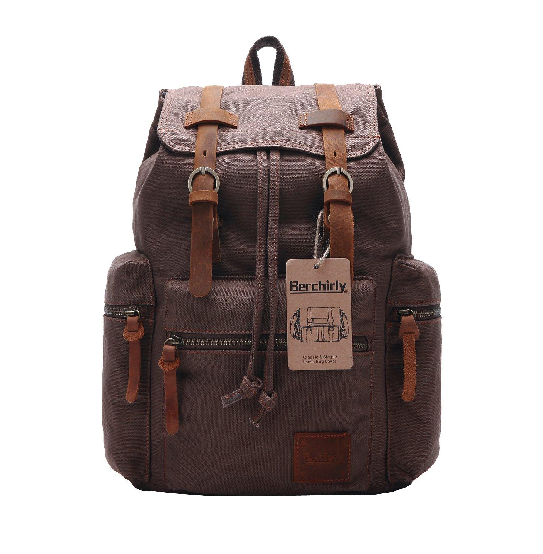 Backpack Berchirly Vintage Men Casual Canvas Leather Rucksack Bookbag Satchel Hiking Bag Black Amazoncouk Sports Outdoors