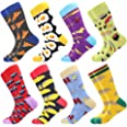 Men's Dress Cool Colorful Fancy Novelty Funny Casual Combed Cotton Crew Socks Pack Patterned Office Socks,Mid Calf Cool Crazy