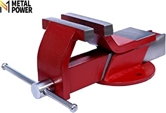 METAL POWER Steel Bench Vice with Fixed Base (Plain Red, 4-inch)