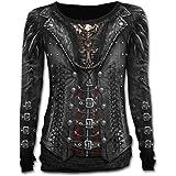 Spiral Gothess Wrap Langarm T Shirt Top Waisted Gothic Tattoo - Girlie