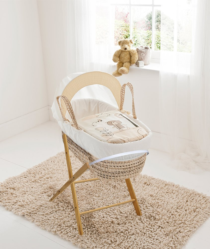 Beary Nice Cream Palm Moses Basket & Folding Stand Elegant Baby Suitable from newborn for up to 9kg, this Moses Basket uses Easy-care Poly Cotton with a soft padding surround Suitable from newborn to 9 months It also includes a comfortable mattress and an adjustable hood perfect to create a cosy sleeping space for your precious little one 1
