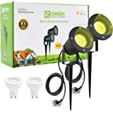 Spot LED Extérieur, OMSEN Jardin Luminaire GU10 7W 630lm 3000K Blanc Chaud IP65 Lampe de Jardin, Câble de 2,5m avec prise, av