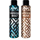 Amazon Brand - Solimo Gas Deodorant - Pack of 2 (ThunderBolt, Intense Musk)