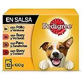Pedigree Comida húmeda para Perros sabores Mixtos en Salsa, Multipack (4 Packs x 12 bolsitas x 100g)