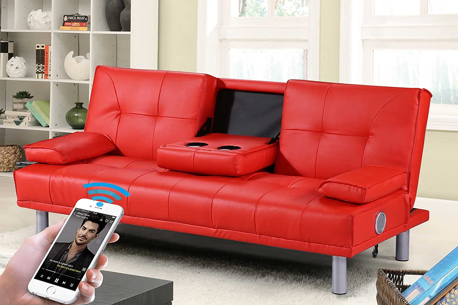 New Manhattan Modern Sleep Design Faux Leather Sofa Bed With