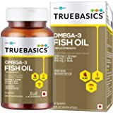 TrueBasics Omega-3 Fish Oil Triple Strength with 1250mg of Omega (560mg EPA & 400mg DHA) for Healthy Heart, Eye & Joints…