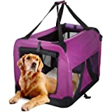 Sac de Transport pour Chien Chat Transporteur en Nylon Respirant Souple Pliable pour Animal Chenil à Domicile et Extérieur Cage Canine Portable pour Sortir Camping Long Voyage (Violet-70×52×52CM)