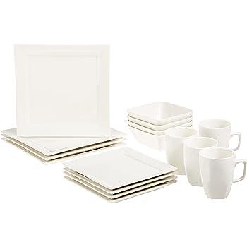 AmazonBasics 16-Piece Premium Dinnerware Set, Square Classic White