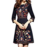 Women's Premium Embroidered Floral 2/3 Sleeves Cocktail Formal Mini Dress