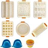 Lot de 14 moules en silicone anti-adhésif pour moule à muffin/four, moule à gâteau/pain, moule à gâteau en forme de printemps