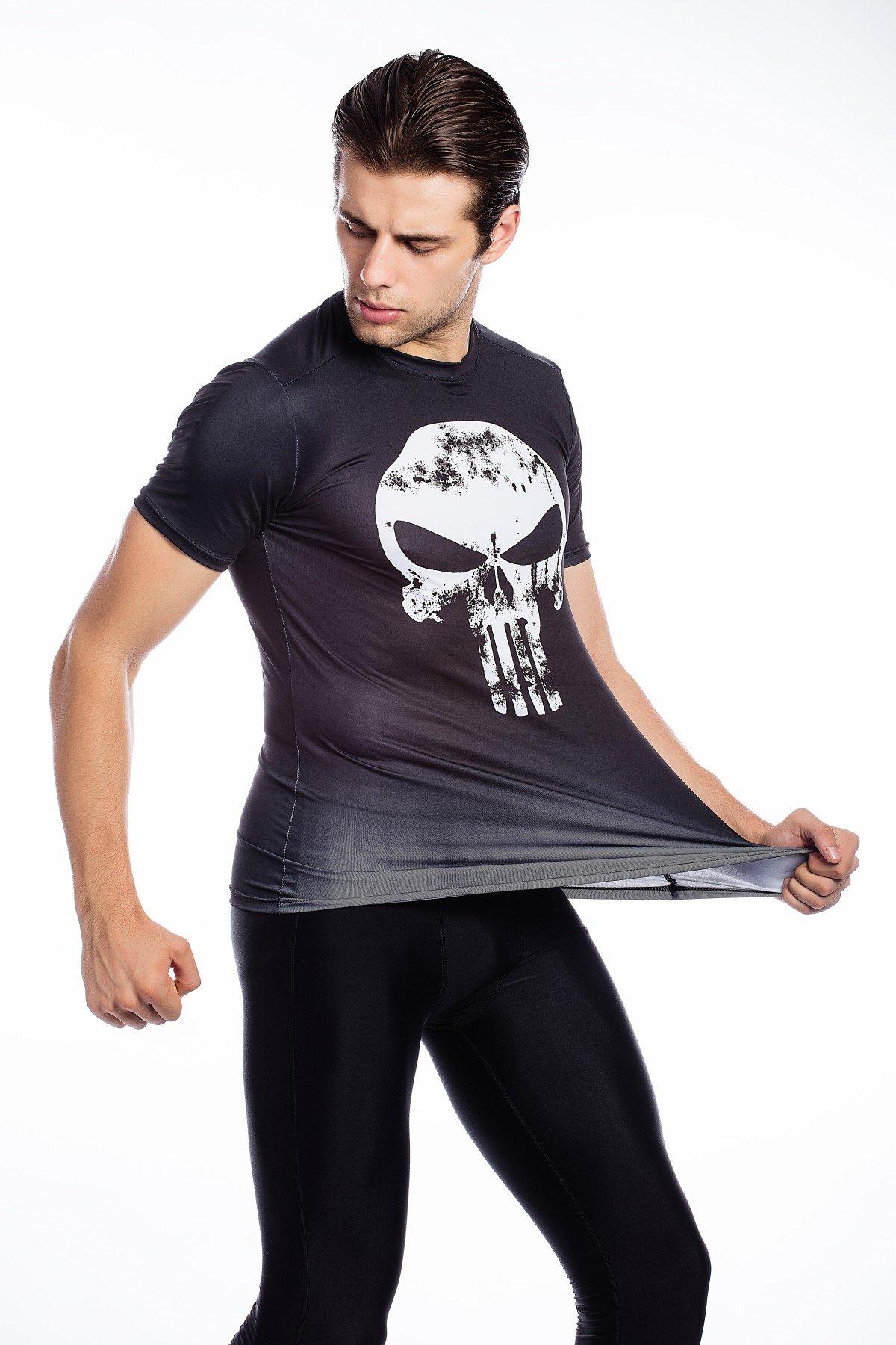 Cody Lundin /® Uomo Moda Maschile Visione Stampato Festa in Maschera allaperto in Maniche Corte Stile Fitness Sport