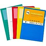perfect line lot de 20chemises à fenêtre DIN-A4, ouverture latérale & supérieur, film transparent coloré, 5couleurs assorti