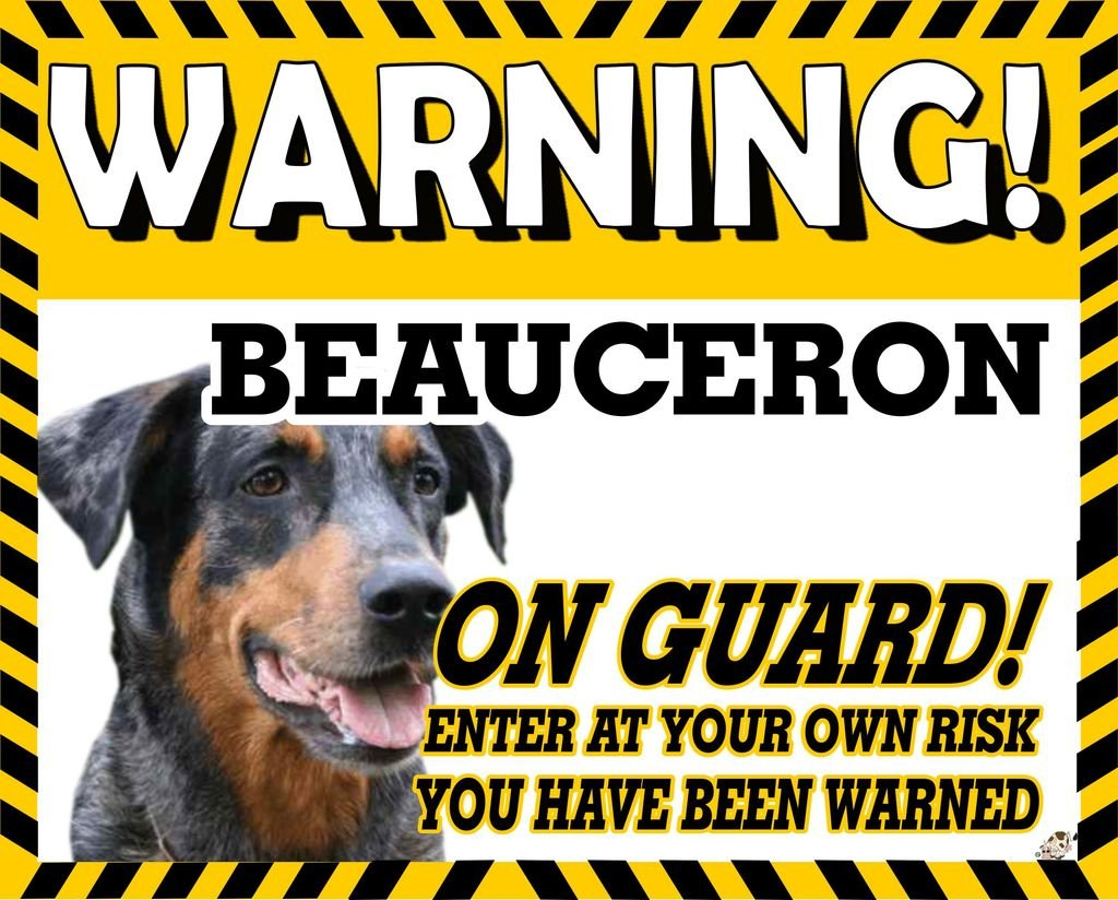 The Lazy Cow Beauceron YELLOW WARNING DOG METAL SIGN 26