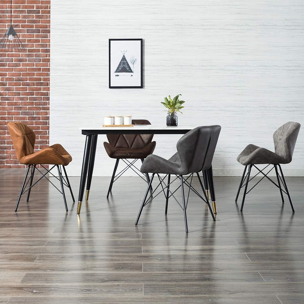 Duhome 2er Set Esszimmerstuhl Stoff Küchenstuhl Metallbeine Konferenzstuhl Besucherstuhl Retro Farbauswahl 622J 2