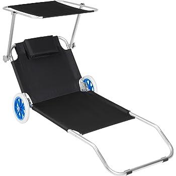 5bee70d9da4c20 TecTake Chaise longue de plage bain de soleil   Chaise longue à roulettes    176 cm   -diverses couleurs au choix- (Noir   Nr. 402783)