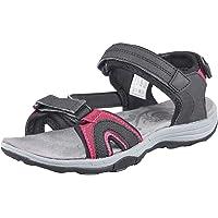GRITION Womens Walking Sandals Ladies Outdoor Athletic Hiking Sandal Girls Flat Open Toe Adjustable Hook and Loop Sports…